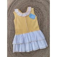 Vestido amarillo punto-tela GRANLEI 163