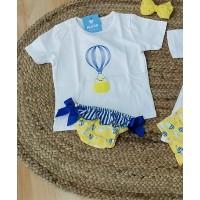 conjunto baño niña globo camiseta y culetin