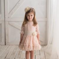9b4050b0d Vestido rosa encaje manga francesa LOAN BOR 17118434